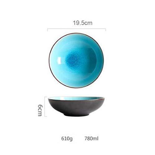 LIXIFF Eisriss glasiert See blau Farbe Schalen Geschirr Haushalt Reisschüssel Keramik Obstsalat Schüssel, 6 - Crackle Glaze