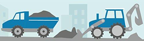 lovely label Frise murale adhésive enfant à motifs pelle mécanique & chantier, menthe-bleu - Frise chambre enfant garçon ou fille de 450 x 11,5 cm - Décoration murale chambre bébé autocollante et non toxique, fabriqué en Allemagne