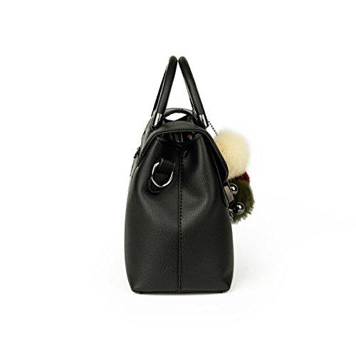 Damen Mehrfarbig Mit Haarkugel Schultertasche Diagonal Paket Handtasche Wilde Handtaschen Red