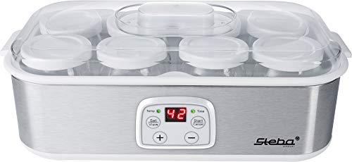 Steba JM 3 Joghurtmaker | 8 Glas-Joghurtbecher mit Deckel à 180 ml | 1,4 Liter Gesamtvolumen | Temperatur einstellbar 20-55 °C | Timer 1-48 Std. | LCD-Display - Glas Joghurt-gläser