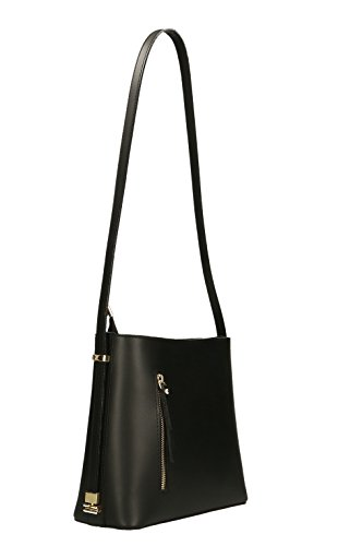 Borsa A Tracolla In Vera Pelle, Made In Italy, 28x24x13cm Nero