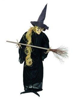 EUROPALMS Halloween Figur Hexe mit Besen