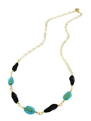 Venetiaurum - Collana da donna cm63 con perle acquamarina foglia oro in vetro originale di Murano e catena in Argento 925 placcata oro 18kt - Gioiello made in Italy certificato.