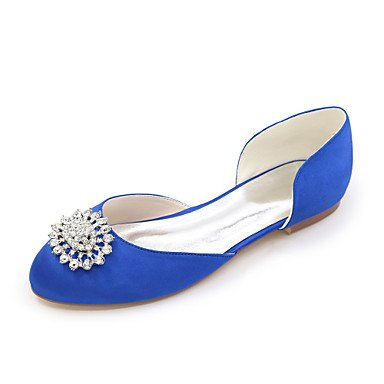 Rtry Femmes Printemps Eté Automne Hiver Satin Wedding Party & Amp; Soirée Talons Plat Strass Noir Bleu Rose Violet Blanc Ivoire Argent Us11.5 / Eu43 / Uk9.5 / Cn45