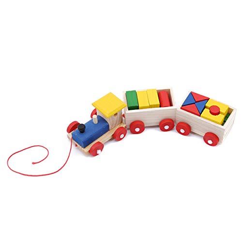 EJY Enfants Tirer Train Forme Bloc de Construction Éducatif Puzzle Jouets