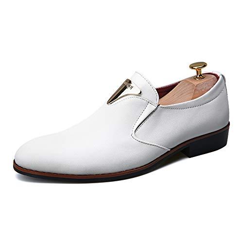 S.Y.M Moda Casual da Uomo Moderno Oxford Moda Traspirante Scarpe Antiscivolo Formali (Color : Bianca, Dimensione : 39 EU)