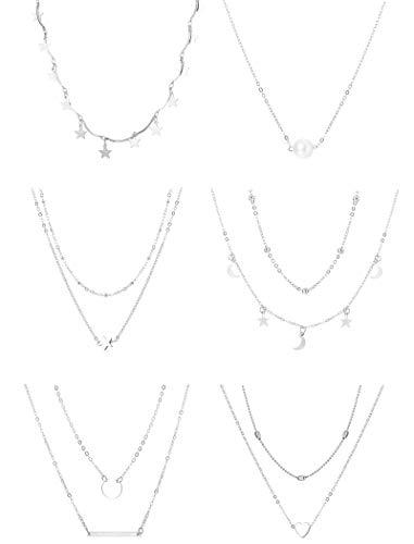Sailimue 6 pieazas Collar Corto Multicapa para Mujeres Niñas con Luna Estrella Colgante Corazón Perla Gargantilla Cadena Collar de Declaración Conjunto Ajustable