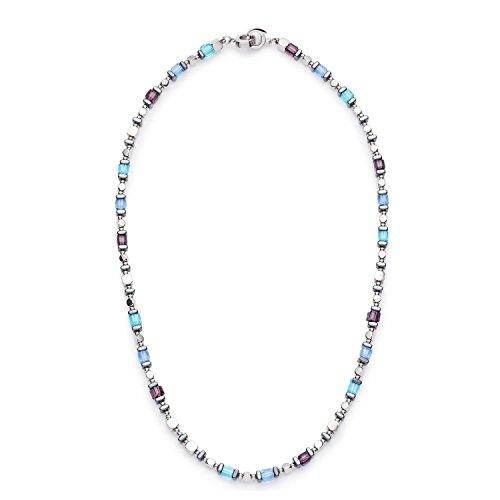 JEWELS BY LEONARDO Damen-Kette ohne Anhänger Modena Darlin's Edelstahl Hematit Glas blau silber klar violett 45 cm Clipverschluss 016525