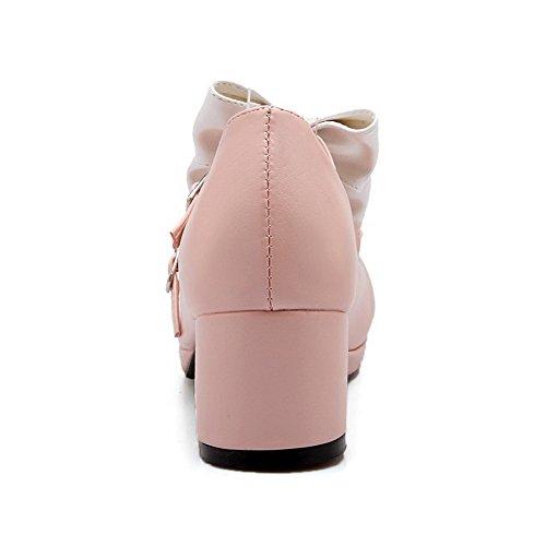 VogueZone009 Femme Boucle Fermeture D'Orteil Rond à Talon Correct Pu Cuir Couleur Unie Chaussures Légeres Rose