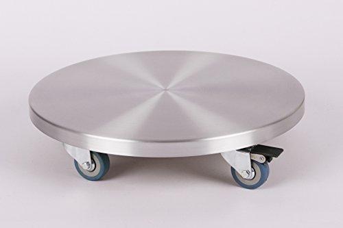 Möbelroller / Pflanzenroller (Profi) Ø 40 cm, ALU, 150 kg, PU-Rolle + Bremse, Marke: Szagato, Made in Germany (Design-Pflanzenroller Transportroller Rollbrett) -