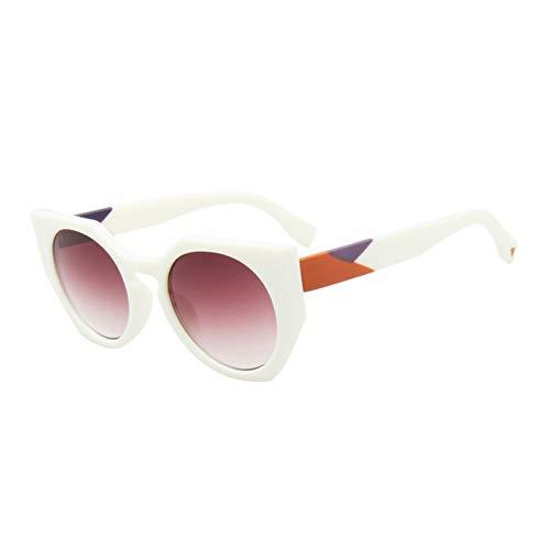 Kjwsbb Sonnenbrille-Frauen-Designer-Mode-Steigungs-Linse-Weinlese-runde Sonnenbrille für Frau
