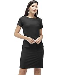 Ombré Lane Women's Black Shift Dress with deep Front Pockets