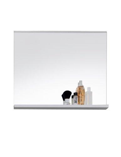 Trendteam MZ40101 Badspiegel Wandspiegel mit Ablage weiss Dekor, Glas BxHxT 60x50x10 cm -