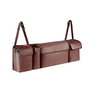 BC Auto Kofferraum Organizer Auto Braun - Hochwertige Hänge-Kofferraumtasche mit doppelter Kletthalterung für mehr Stauraum - Multifunktionales Autozubehör für den Kofferraum