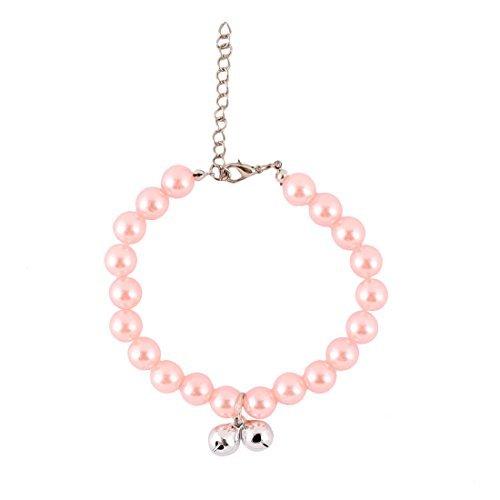 DealMux Kunststoff Partei Pet Bead verlinkte Runde Nachahmungen von Perlen Glocken Schmücken justierbarer Haustier Halskette Hellrosa