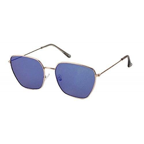 Sonnenbrille Piloten Retro Stil 400 UV verspiegelt Trapezform eckige Gläser blau