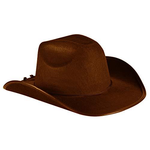 Cowboy-Hut Cowgirl Sheriff Wilder Westen Ranger Cowboykostüm Partyhut Spaßhut Kopfbedeckung Hochwertiges Kostüm-Zubehör Party-Accessoire Karneval Fasching Fastnacht Mottopartys Einheitsgröße Braun (Cowgirl-schmuck)