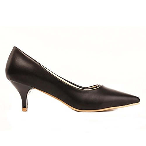 ny's Black Dress Kostüm Schwarze Pumps aus Premium Vegan Leder (35 (US4 / 4.5)) ()
