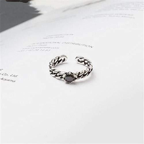 Damen 925 Sterling Silber Ringe,Einstellbare Retro Black Pearl Ring Thai Silber Schmuck Weiblichen Kreative Student Style Bankett Wesentliche Kleidung Passende Geschenk