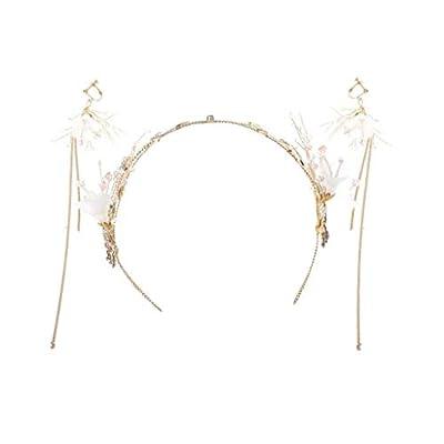 Fleur Couronne De Cheveux Couronne Japon Et Corée du Sud Main Tiara Accessoires De Cheveux Enfants Boucles d'oreilles Ensemble Demoiselle d'honneur Bandeau De Mariage Bijoux Taille Réglable