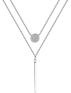 EVERU Kette Damen Modeschmuck Halskette Doppelkette mit Zirkonia Runder Anhänger, Stab Anhänger in 925 Sterling...