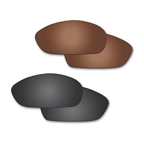 Fiskr Anti-Saltwater Polarisierte Ersatz Gläser für Oakley Whisker Sonnenbrille 2Paar Verpackt, Stealth Black & Bronze Brown