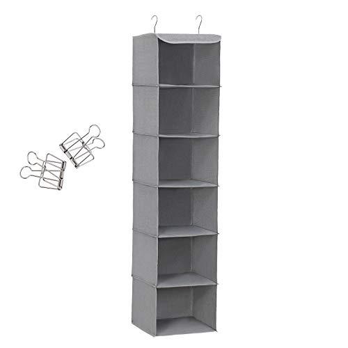 Songmics rch06g - scaffale pensile con 6 scomparti, interno con struttura in metallo, 2 mollette gratis, per armadi in diverse altezze, grigio, 30 x 130 x 30 cm (l x a x p), tessuto
