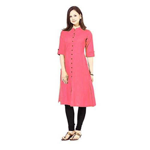 Vastraa Fusion Khadi Cotton Solid Women Casual Kurti - Available in 30...