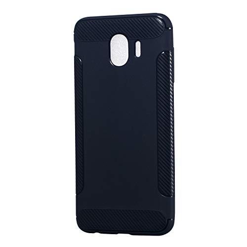Carols Galaxy J4 2018 Hülle, Samsung Galaxy J4 2018 Case Flexiblem TPU Silikon Hybrid Schutzhülle Kohlenstoff-Fasern Tasche Ultra Slim Handyhülle für Samsung Galaxy J4 2018 - Blau A