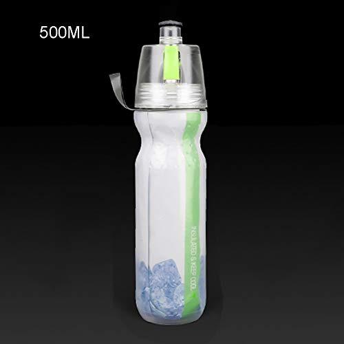 Nahrungsmittelgrad-silikon-spray (JKLKL Fahrrad Spray Sport Wasserflaschen, Reise-Plastikbecher, Kalt Halten, BPA-Frei, Langlebig, Für Outdoor-Bergsteigen Fahrrad Fitnessstudio,Green,500ML)