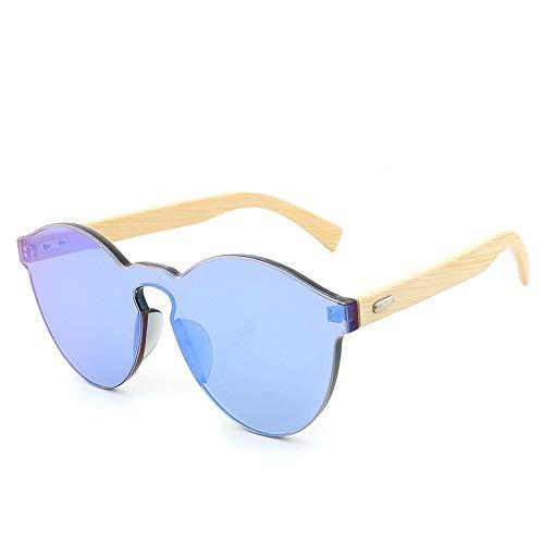 SHENTIANWEI Mode Katzenauge Vintage Retro-Design Holz Handmake Holzfüße Sonnenbrille Big Box Wilde Bambus Beine Sonnenbrille rahmenlose Persönlichkeit Sonnenbrille (Color : Green)