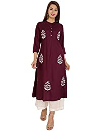 Bright Cotton Kurta Palazzo Set for Women Rayon A-Line Embroidered (Maroon)