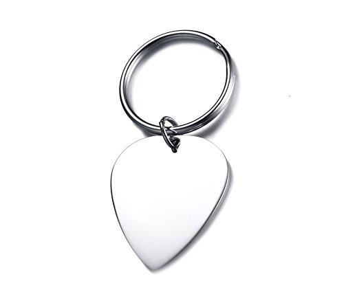 Vnox Edelstahl personalisierte Guitar Pick Keychain Name Datum Zitat benutzerdefinierte eingraviert Tag Schlüsselanhänger für Männer Frauen