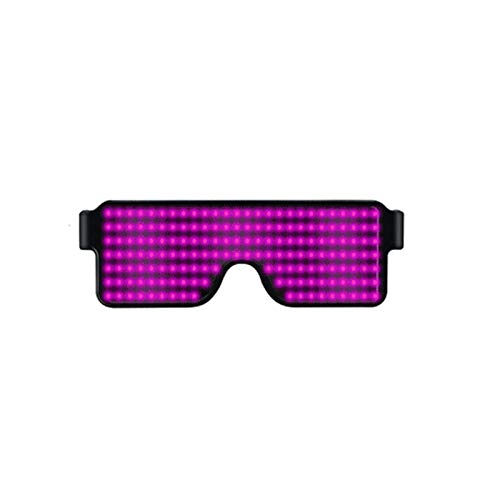 Coomir Brille mit LED-Licht, für Partys, Partys, Sonnenbrille, Weihnachten, Geburtstag, Dekoration Pink