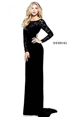 Sherri Hill Black 51128 Lace and Jersey Fitted Long Sleeve Dress UK 8 (US 4) UK 8 (US 4)