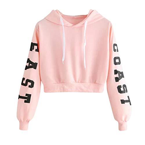 SHOBDW Frühling Herbst Mode Damen Buchstaben Drucken Langarm Hoodie Sweatshirt Teenager Mädchen Pullover Tops Bluse