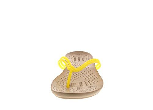 Ciabatte Infradito Sandali Donna Isabella Crocs, Nero Limone / Oro