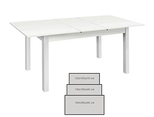 Esstisch Cottbus weiß Größe nach Wahl Esszimmertisch Speisetisch Auszugstisch Küchentisch Tisch Esszimmer Wohnzimmer Küche, Größe:120(160)x70...