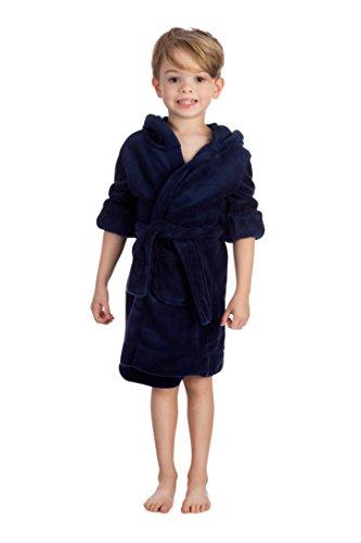 Elowel Kinder Schlafanzug Bademantel mit Kapuze fur Jungen und Madchen Marineblau (Größe 92/2)