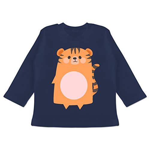 Karneval und Fasching Baby - Kostüm Fasching Tiger - 18-24 Monate - Navy Blau - BZ11 - Baby T-Shirt Langarm (Tiger Baby Kostüm)