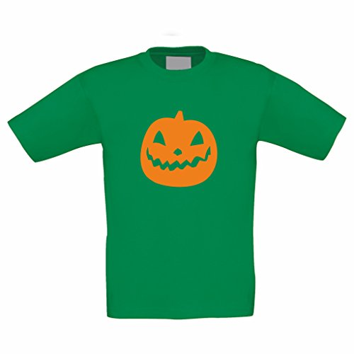 Kinder T-Shirt -- Kürbis Halloween Party, kellygrün, 152-164