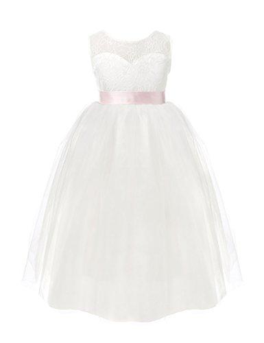 Freebily Mädchen Kleid Classic Tütü bodenlang Hochzeit Prinzessin Festzug Ärmellos Abendkleid Partykleid Festlich Kleid 92 98 122 128 116 140 152 weiß 104 (Bestickte Mädchen-kleid)