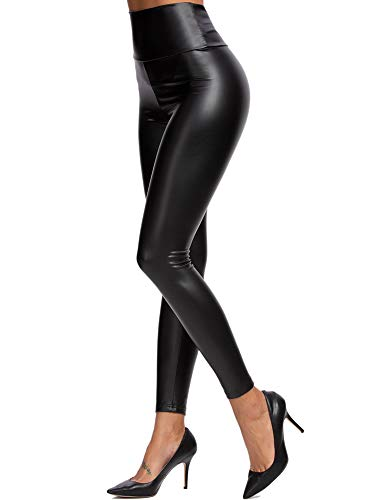 heekpek Mujeres PU Leggins Cuero Brillante Pantalón Elásticos...