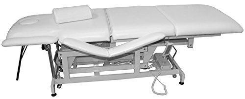 elektrisch höhenverstellbare und rollbare Behandlungsliege, Massageliege (Sockel weiss, Bezug weiss)