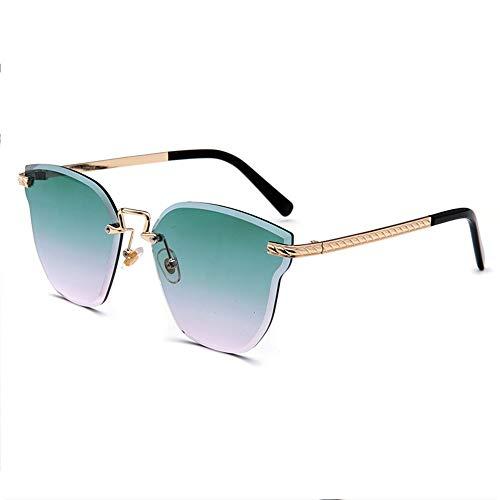 WULE-Sunglasses Unisex Marine Film posiert weibliche Models Katze Ohr Sonnenbrille Kristall Farbe Sonnenbrille New Frameless Bunte Sonnenbrille (Farbe : Green)