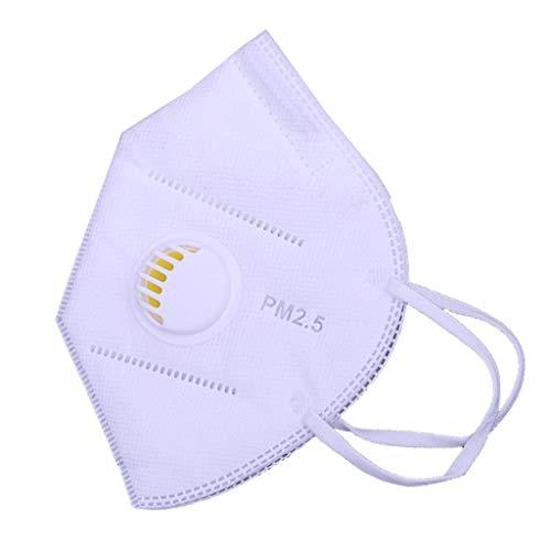 JERKKY 1 Piece Unisex 3D-Atemschutzmaske Non-Woven Einweg Anti-Smog PM2.5 Dustpoorf Halbe Gesichtsmaske Multi Layer Faltfilter mit Atemventil Ohrbügel
