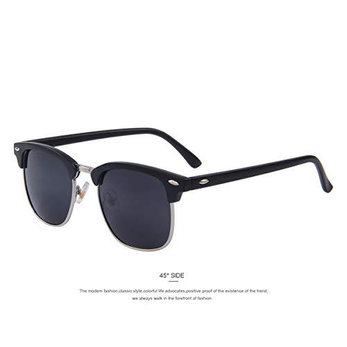 FGRYGF-eyewear Sport-Sonnenbrillen, Vintage Sonnenbrillen, Men Retro Rivet Polarized Sunglasses Classic Unisex Polaroid Sunglasses UV400 C05 Matte black