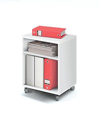Buck cajonera con ruedas color blanco brillo y 2 estantes para mesa escritorio de oficina, despacho o estudio. 55cm altura x 40cm ancho x 40cm fondo