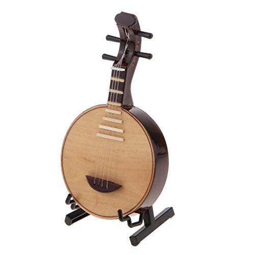 FutuHome Hölzernes Yueqin Miniaturmondlute Modell W/Stand Musikinstrument