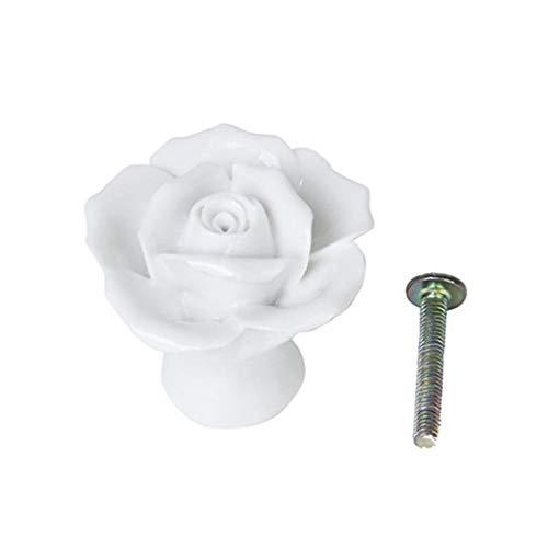 MaylFre Rose Blumen-Keramik-Knob-Schrank Schubladenschrank Zuggriff Mit Schrauben DIY Küchenmöbel Werkzeuge-Weiß